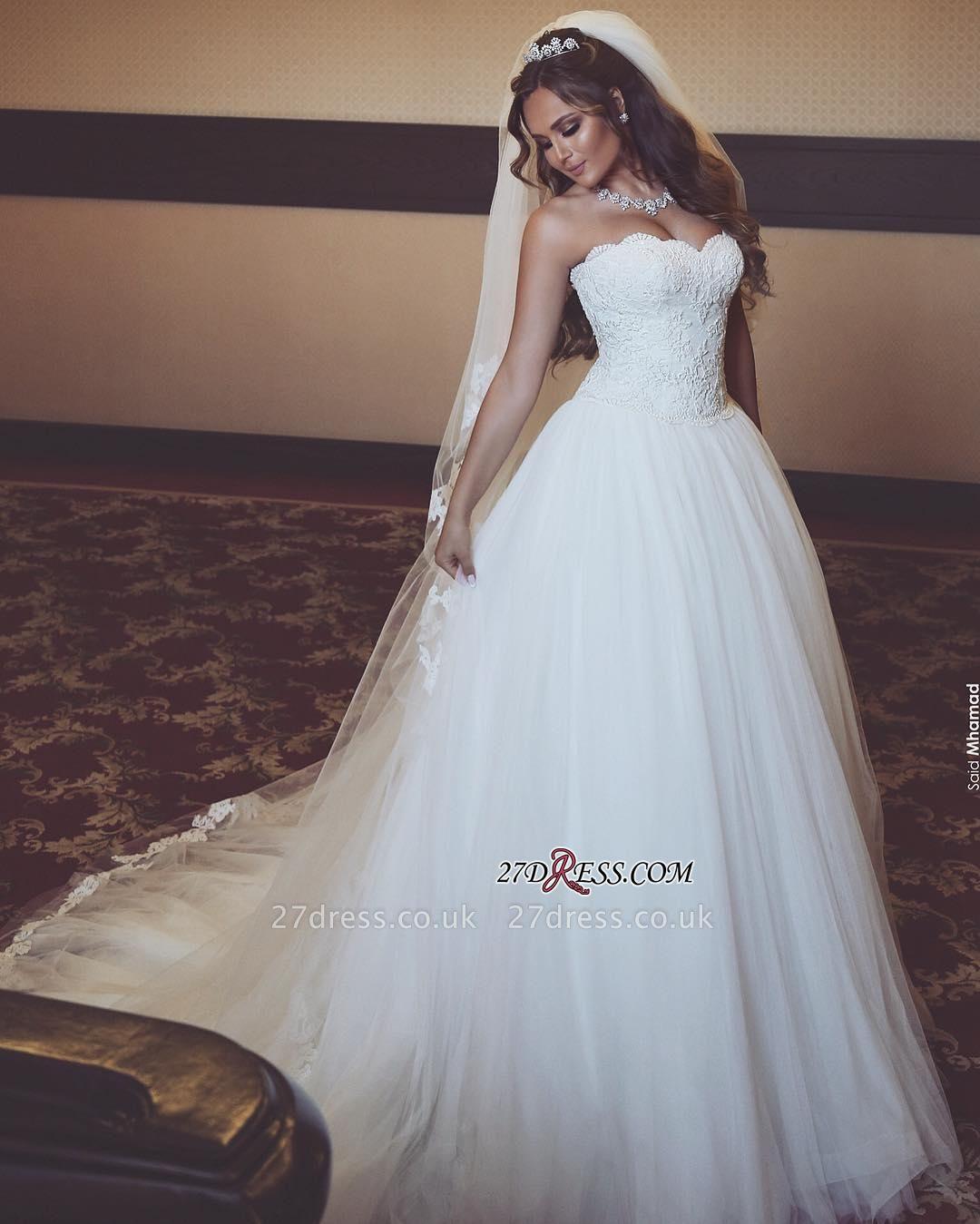 Sleeveless Sweetheart Long Lace Gorgeous Tulle Wedding Dresses UK