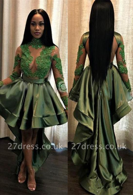 Green Hi-Lo Prom Dress UK   Long Sleeve Evening Party Gowns