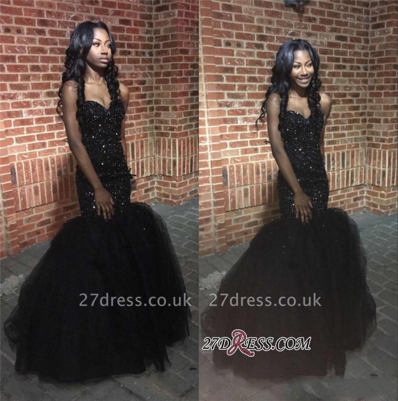 Tulle Sweetheart Beaded Sequins Black Mermaid Amazing Puffy Prom Dress UK BK0