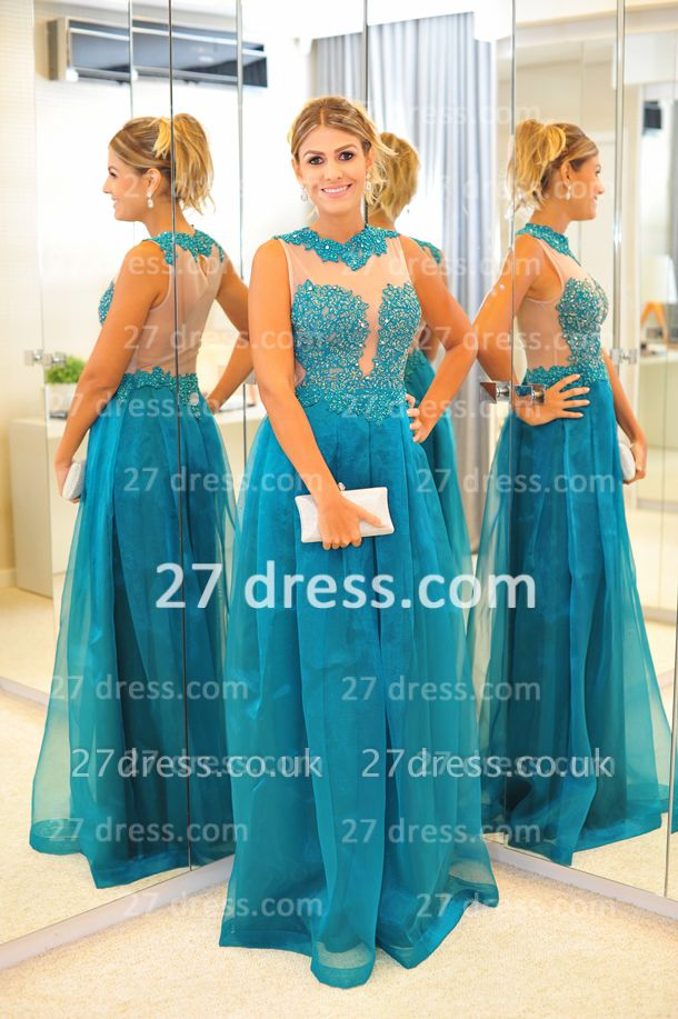 New Arrival Vestidos De Gala Evening Gowns High-neck Blue Lace Applique Prom Dress UKes UK on Sale