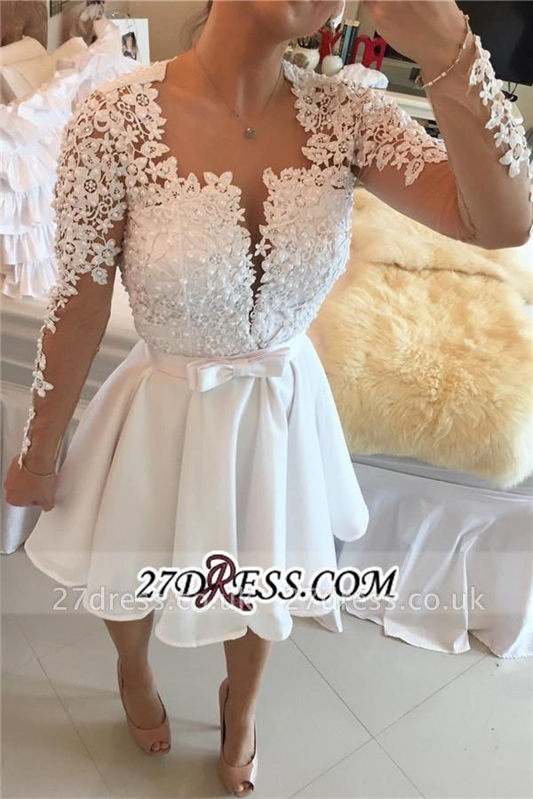 White Lace Long Sleeve Homecoming Dress UKes UK Short