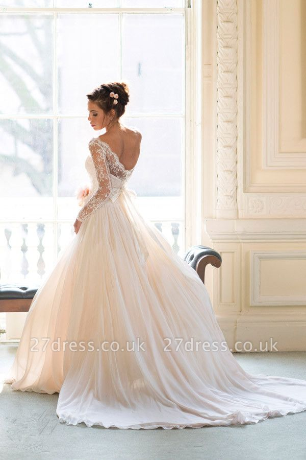Elegant Long Sleeve Lace Wedding Dresses UK Princess  Bridal Gowns