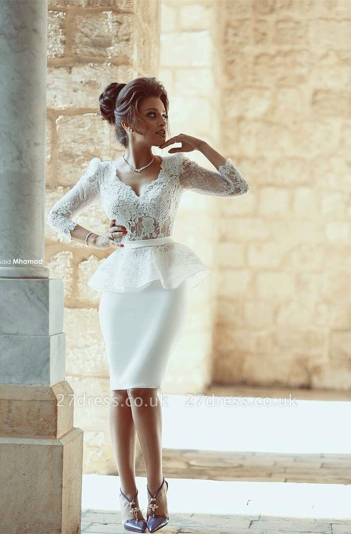Sxey V-neck Lace White Prom Dress UK Bodycon Knee-length