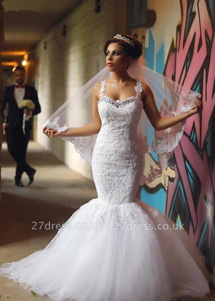 Fabulous Sweetheart Sexy Mermaid Wedding Dresses UK Beadss Tulle Lace Appliques