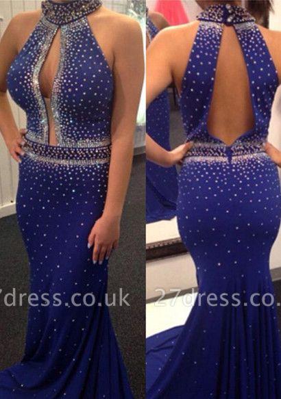 Elegant Royal Blue Beadings Mermaid Prom Dress UK Halter Sleeveless Sweep Train