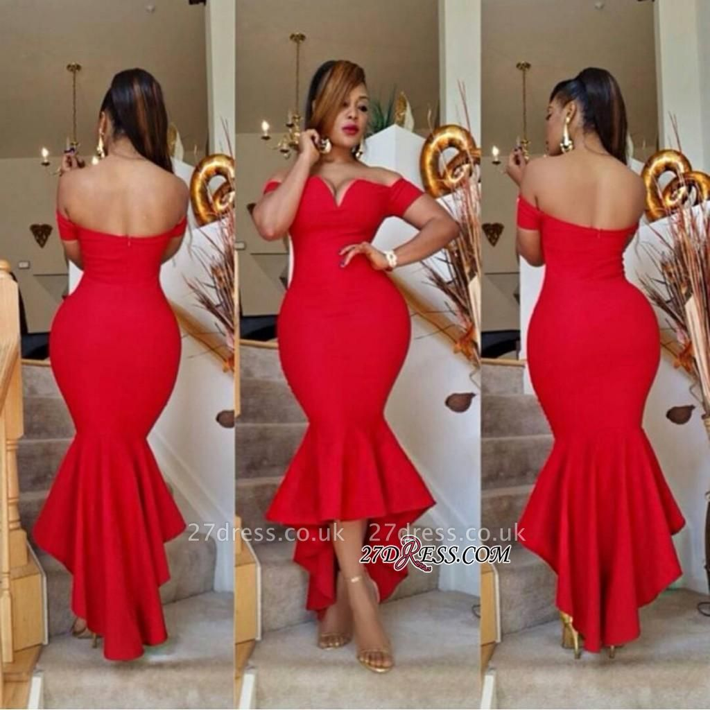 Hi-Lo Off-the-Shoulder Red Simple Elegant Mermaid Prom Dress UK BA6804