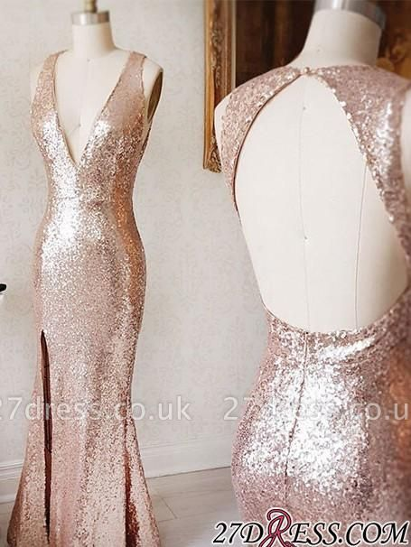Deep-v-neck Beading Split-Front Backless Sequin Sheath Prom Dress UK