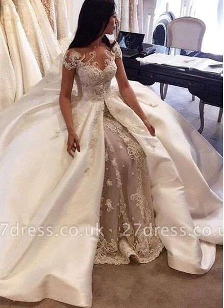 Gorgeous Ball Gown Lace Appliques Wedding Dress Short Sleeve Illusion LP076
