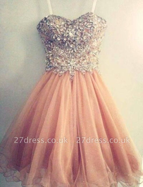 Luxury Sweetheart Spaghetti Strap Homecoming Dress UK Beadings Crystals Short Prom Gowns