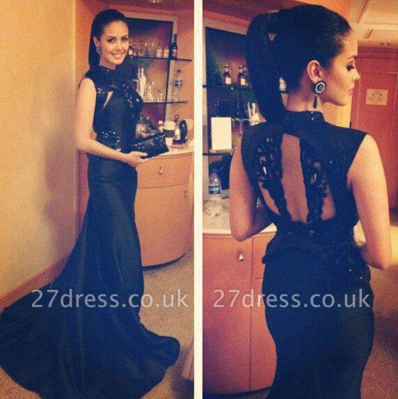 black Vestidos mermaid Formal Prom Dress UK New Design High Neck Evening Party Gowns