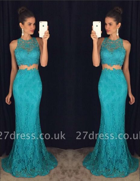 Delicate Mermaid Lace Prom Dress UK Two Piece AP0
