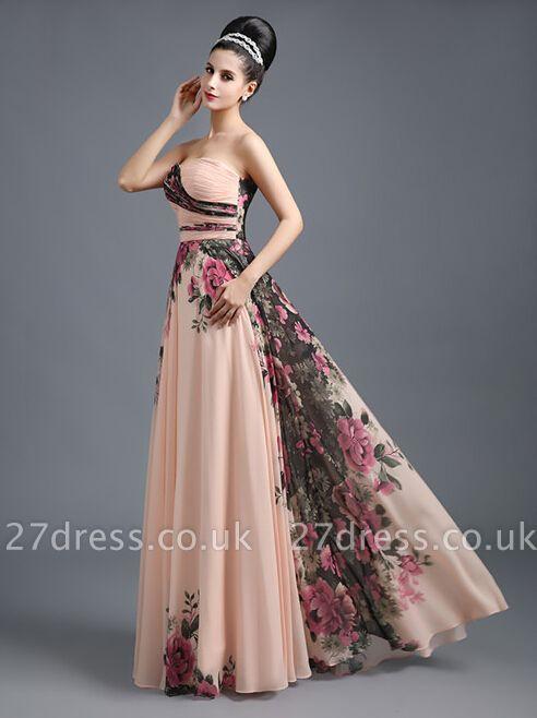 Summer Sweetheart Print Flowers Long Chiffon Prom Dress UK