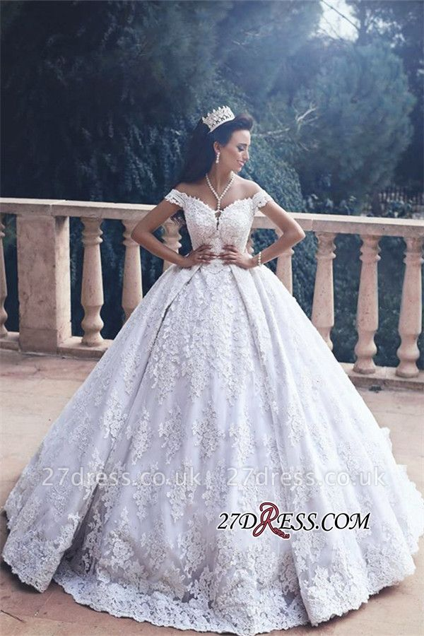 Princess Off-The-Shoulder Luxurious Lace Appliques Ball-Gown Wedding Dress