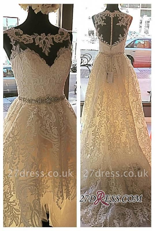 Lace Button Designer Elegant Tulle Zipper Sleeveless Wedding Dress