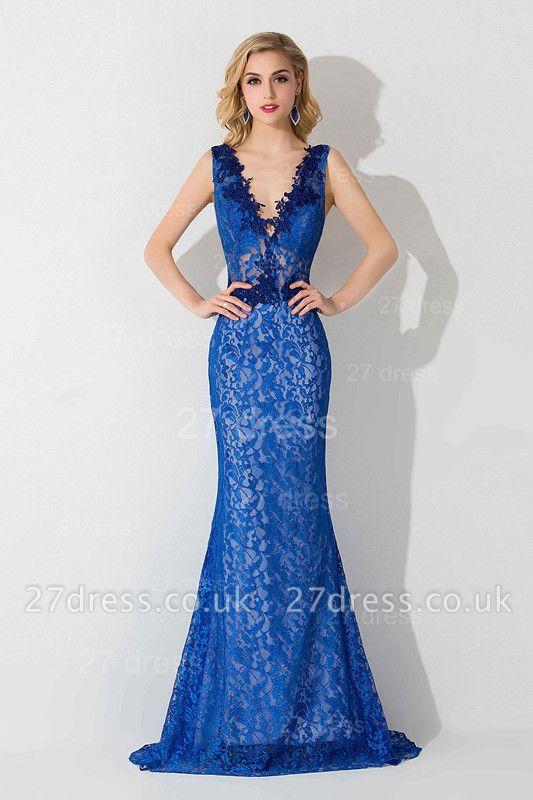 Delicate V-neck Lace Appliques Evening Dress UK Royal Blue