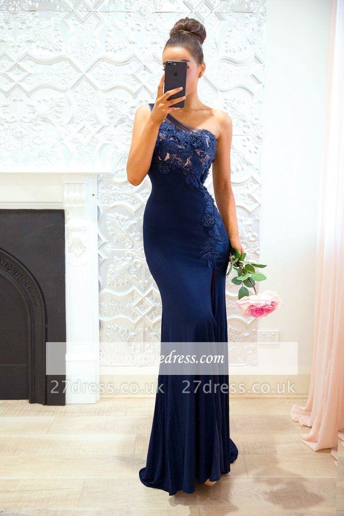 Cheap Floor-length Sheath-Column One-Shoulder Split-Front Appiques Bridesmaid Dresses