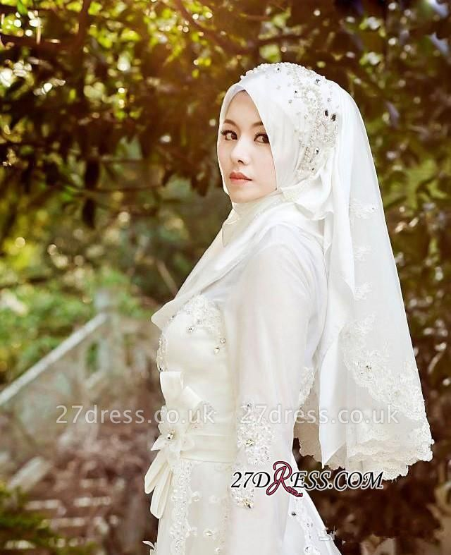 Beads White Arabic Bow Delicate A-line Wedding Dress