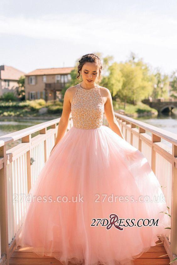 Puffy Pink Beaded Long Sexy Tulle Sleeveless Prom Dress UKes UK BA4242