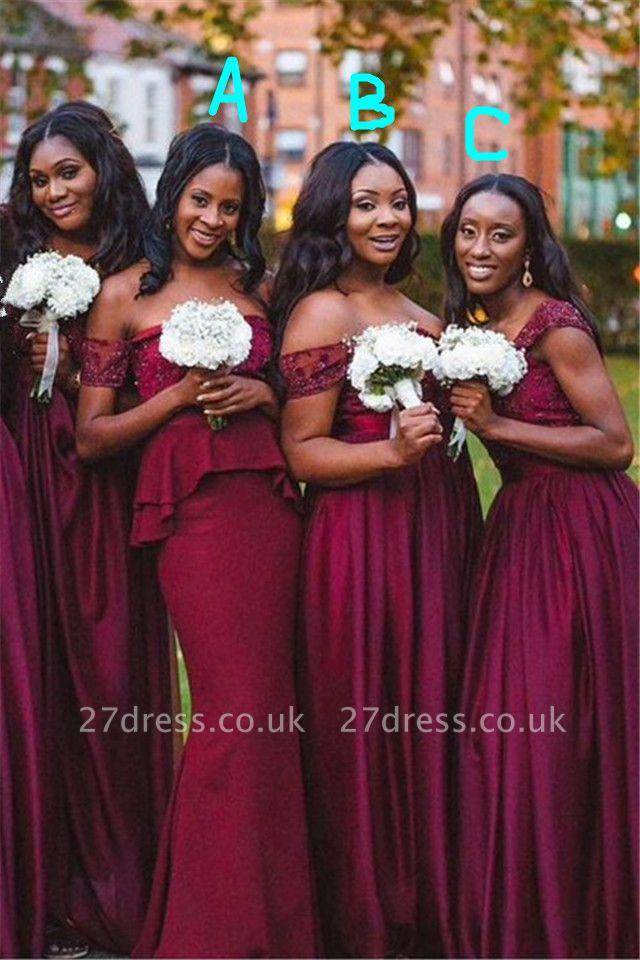 Elegant A-line Off-shoulder Bridesmaid Dress UK Floor-length With Lace