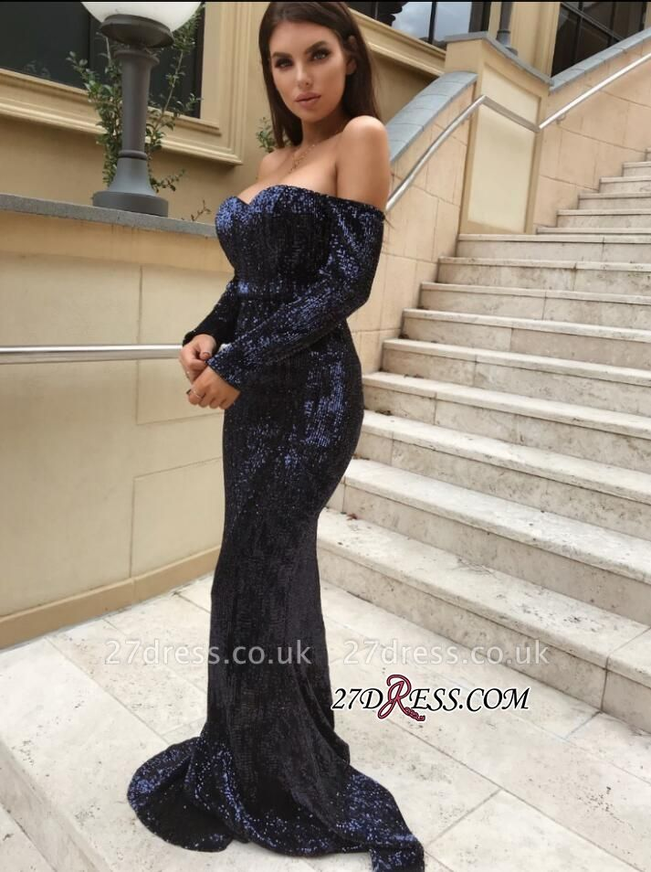Long sleeve sequins prom Dress UK, mermaid evening gowns