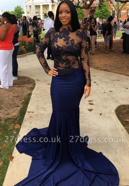 Navy Long-Sleeve Prom Dress UK | Lace Mermaid Evening Party Gowns