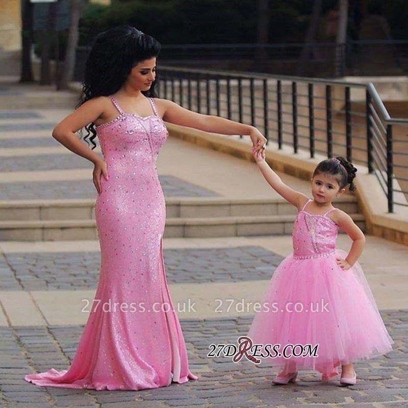 Pink Mermaid Sequined Open-Back Spaghetti-Straps Elegant Crystal Prom Dress UK