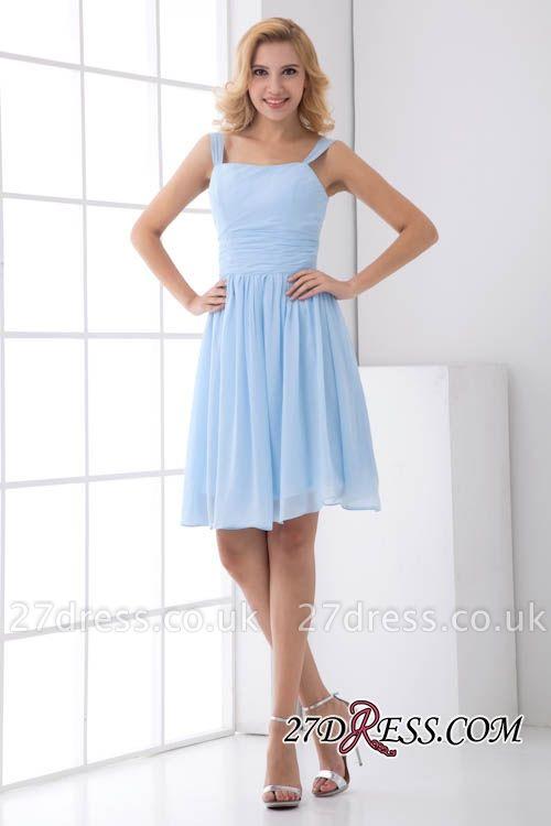 Short A-Line Knee-Length Sexy Straps Chiffon Bridesmaid Dress UKes UK