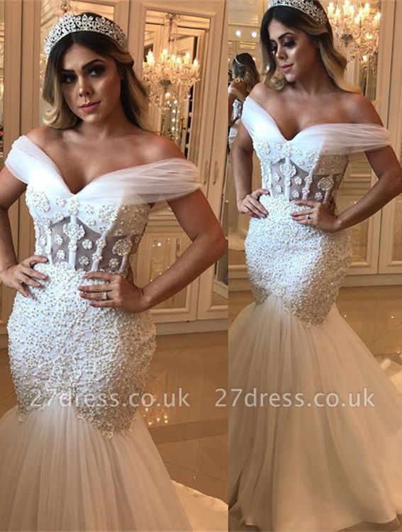 Delicate Off-the-shoulder Sexy Mermaid Beads Wedding Dress   White Bridal Gown