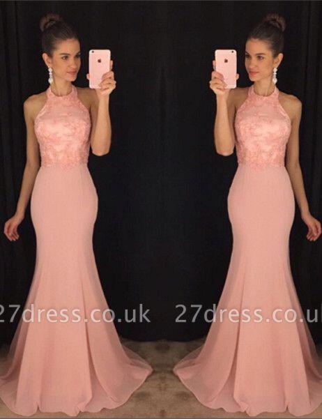 Elegant Halter Mermaid Lace Prom Dress UK Sweep Train AP0