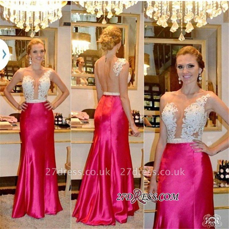 Sleeveless Tulle Sheer Beadings Sheath Elegant Appliques Prom Dress UKes UK