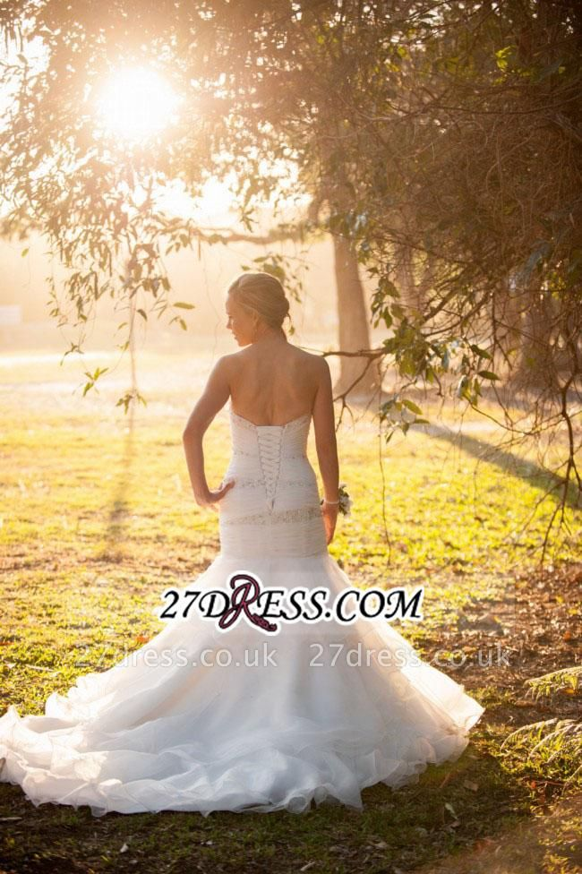 Sweep-Train Sweetheart Gorgeous Wedding Sexy Mermaid Tulle Lace-up Beads LDress