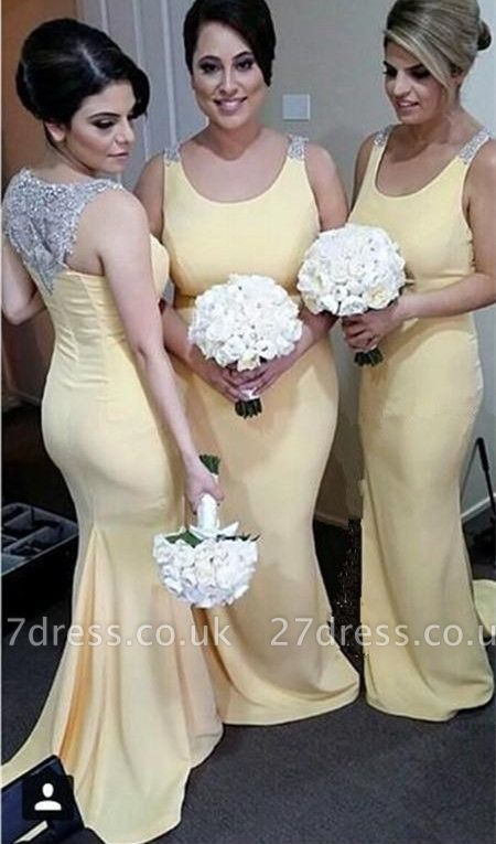 Sexy Crystals Straps Mermaid Bridesmaid Dress UK Sweep Train