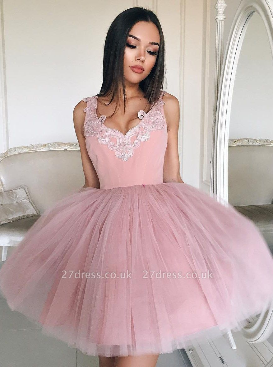 Newest Straps Sleeveless Lace Short Homecoming Dress UK | Mini Homecoming Gown