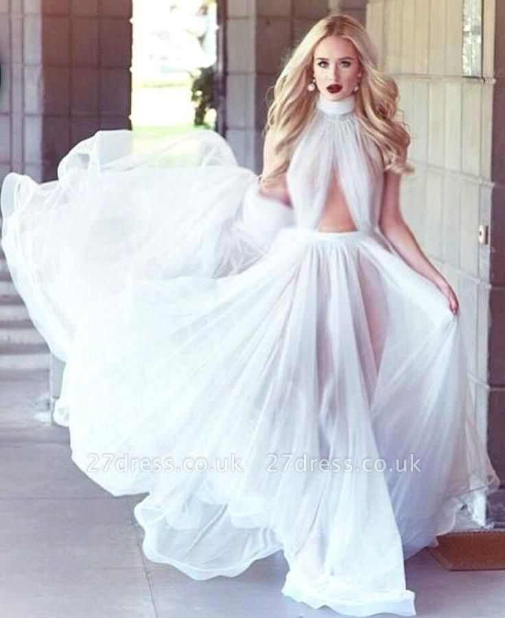 Sexy White High-Neck Prom Dress UKes UK Long Evening Party Gowns