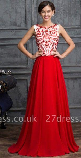 Elegant Red Sleeveless Long Chiffon Prom Dress UK With Crystals