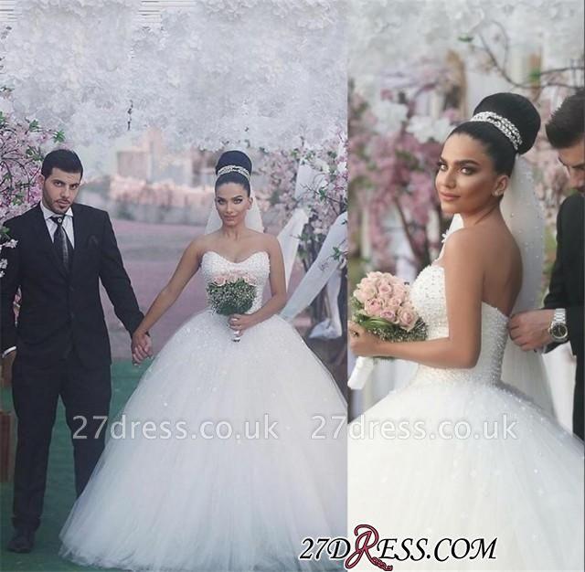 Sweetheart Sleeveless Beads Ball-Gown Elegant Wedding Dress