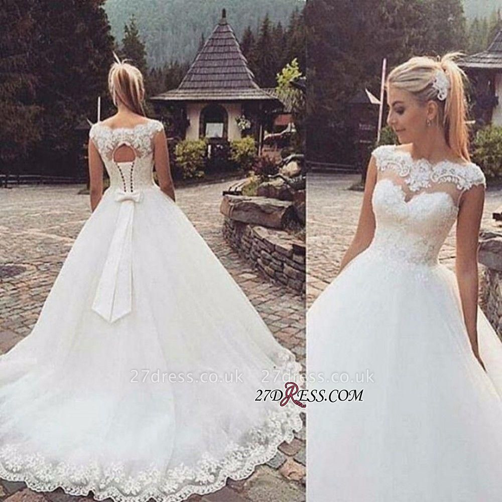 Lace-Up Back Capped-Sleeves Ball Gown Bow Wedding Dresses UK