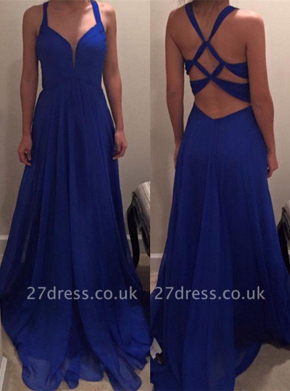Sexy Royal Blue Long Chiffon Prom Dress UK Special Back IG050
