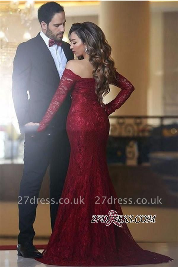 Lace Off-the-shoulder Red Sexy Long Long-Sleeve Mermaid Evening Dress UK BA3596