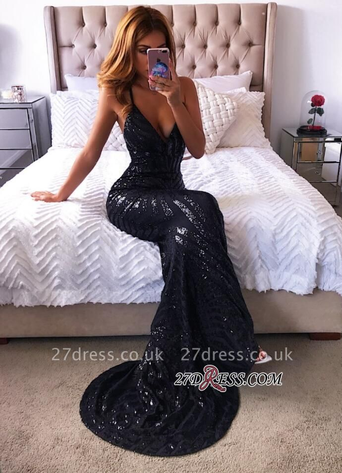 Black sequins prom Dress UK, v-neck mermaid evening gowns BA8254