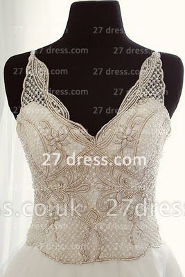 A-line Sequins Wedding Dresses UK Backless Spaghetti Straps Beaded Applique Court Train Formal Bridal Gown