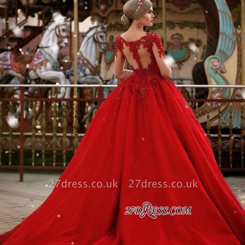 V-Neck Gorgeous Red Long Sleeve Lace Evening Dress BA7213