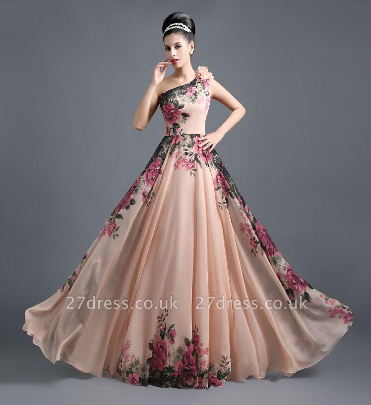 Sexy One SHoulder Print Flowers Floor Length Chiffon Prom Dress UK