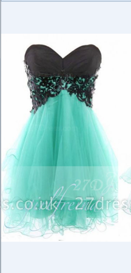 Appliques Elegant Short Cocktail Dress UKes UK Green Homecoming Sweetheart Sleeveless Organza Tiered Lace-up Gowns