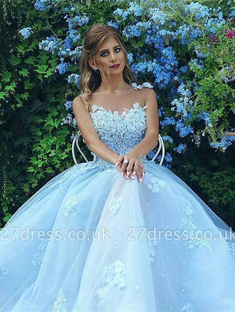 Baby Blue Luxury Sleeveless Evening Dress UK Long Tulle With lace Appliques BA7515