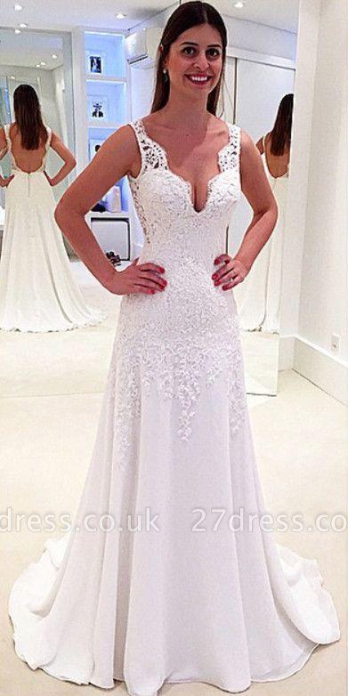 Stunning Sleeveless V-Neck Wedding Dresses UK Lace Long