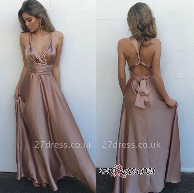 V-Neck Long Luxury Floor-Length Sleeveless Prom Dress UK BA4071