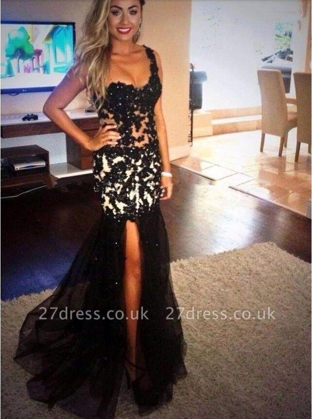 Elegant Black One Shoulder Mermaid Evening Dress UK Lace Appliques Beads