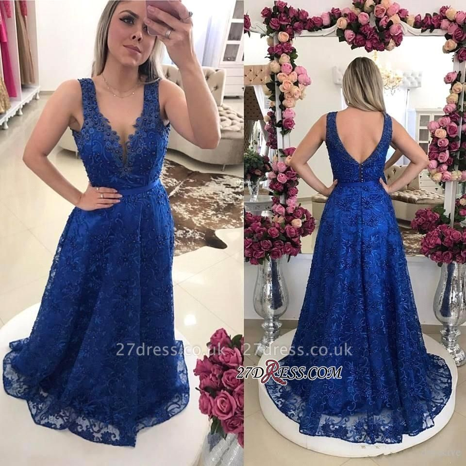 Sexy Royal-Blue Prom Dress UKes UK | Lace Evening Gowns On Sale