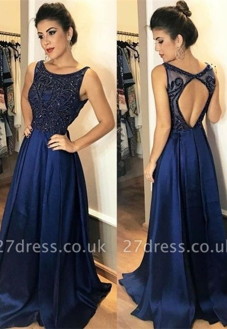 Sexy Sleeveless Navy Prom Dress UK Long Chiffon Party Gowns With Beads